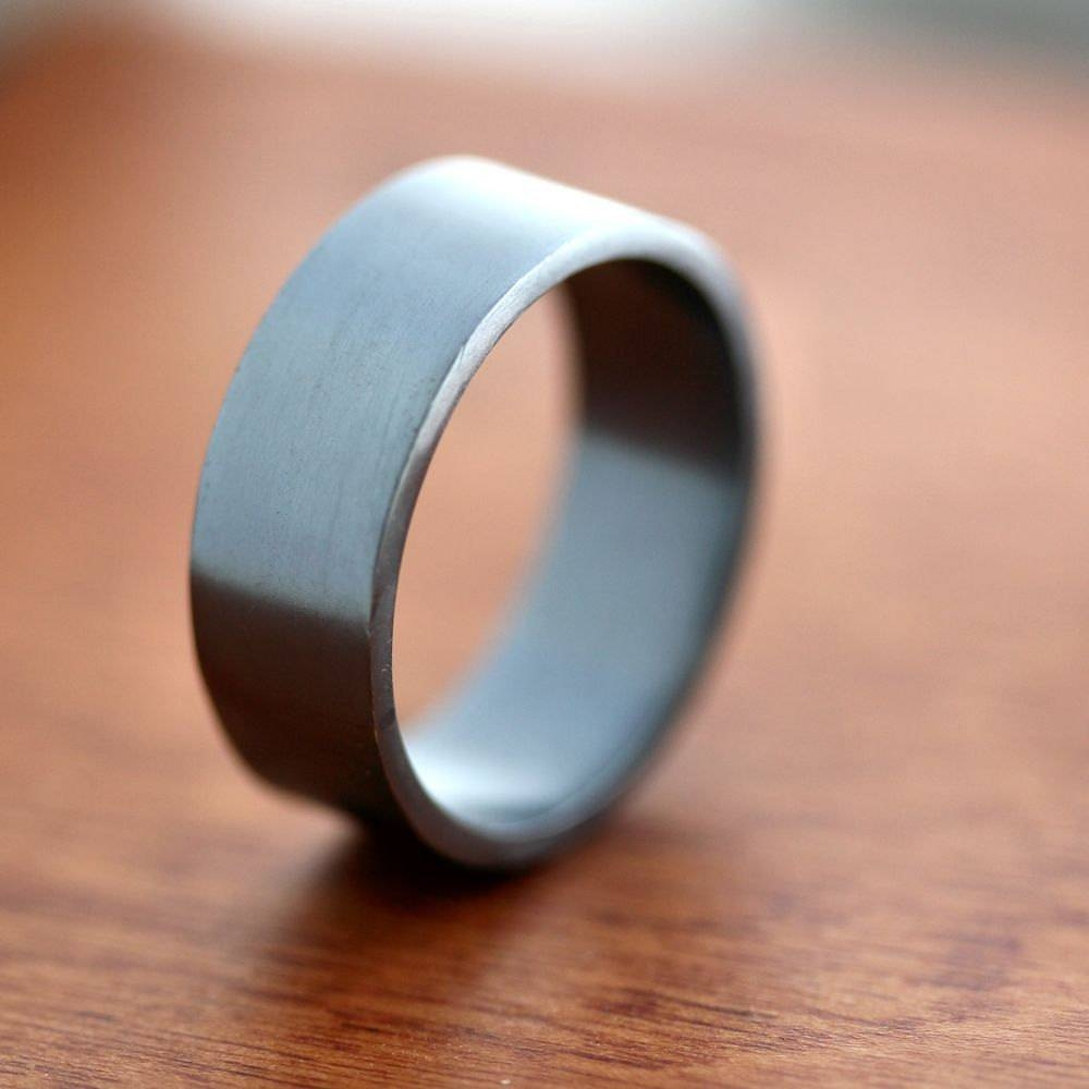 Men's Silver Wedding Band 8mm Wide Simple Flat Band With Silver Mens Wedding Rings (View 9 of 15)