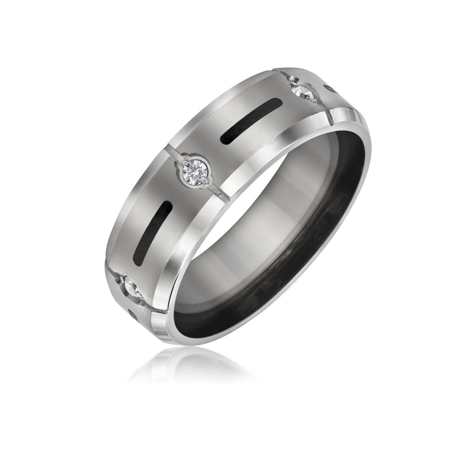 Mens Titanium Ring Cz Wedding Band Ring With Resin Inlay 7Mm For 7Mm Titanium Wedding Bands (View 9 of 15)
