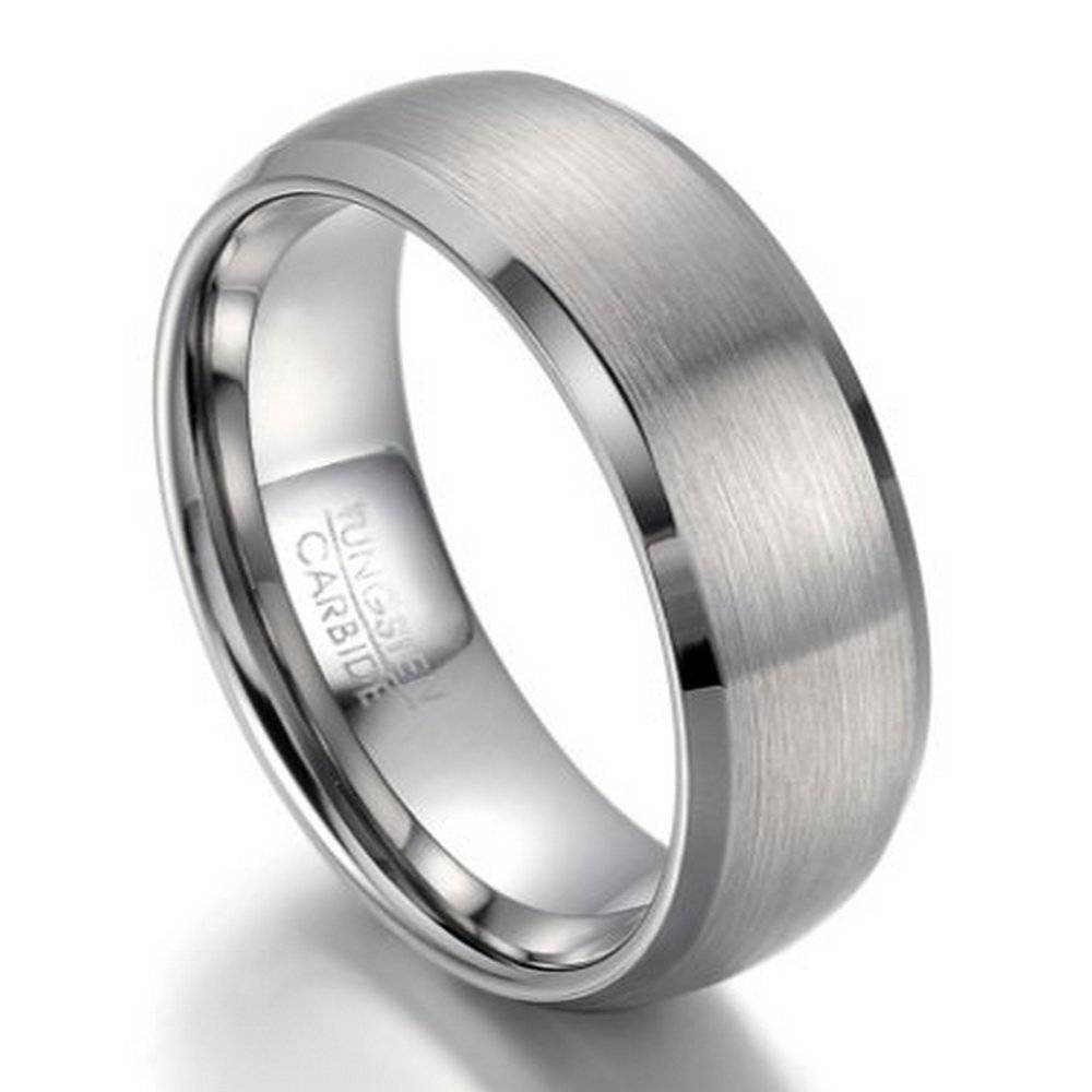 Men's Tungsten Wedding Band, Beveled Edges, 8Mm Width Regarding Newest Beveled Edge Mens Wedding Bands (View 7 of 15)