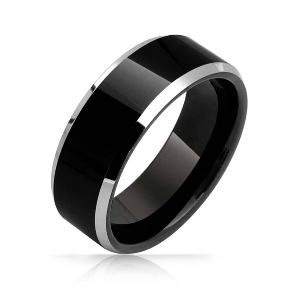 Mens Two Tone Black Flat Top Beveled Tungsten Wedding Band 8Mm Pertaining To Black Men Wedding Bands (View 11 of 15)