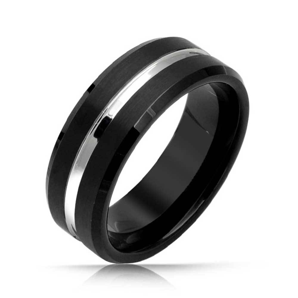 Mens Two Tone Black Tungsten Ring Matte Finish Wedding Band 8Mm In Mens Black Onyx Wedding Rings (Gallery 6 of 15)