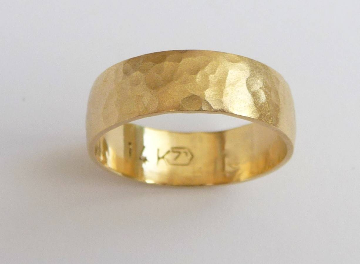 Men's Wedding Band 14K Gold Wedding Ring Hammered Pertaining To Mens Hammered Wedding Bands (Gallery 9 of 15)