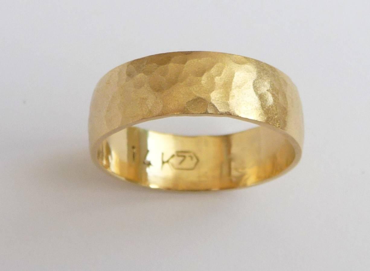 Men's Wedding Band 14k Gold Wedding Ring Hammered Within Hammered Wedding Bands For Men (Gallery 3 of 15)
