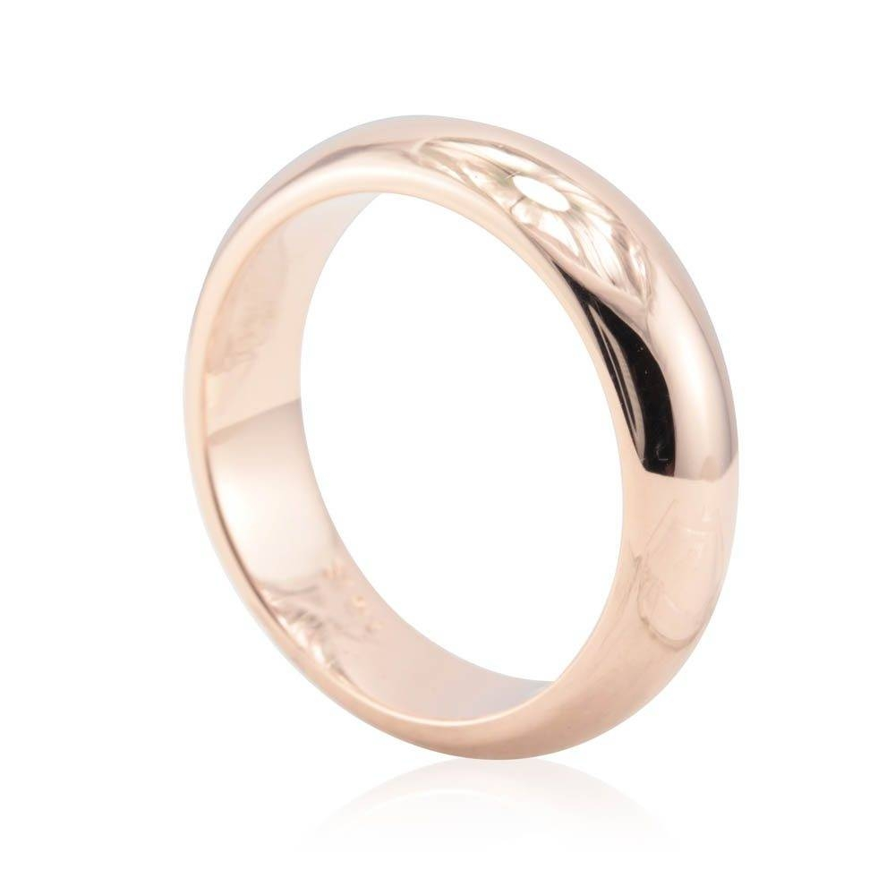 Men's Wedding Band – 6Mm Comfort Fit Plain Rose Gold Men's Ring Intended For Mens Wedding Bands Comfort Fit (View 9 of 15)