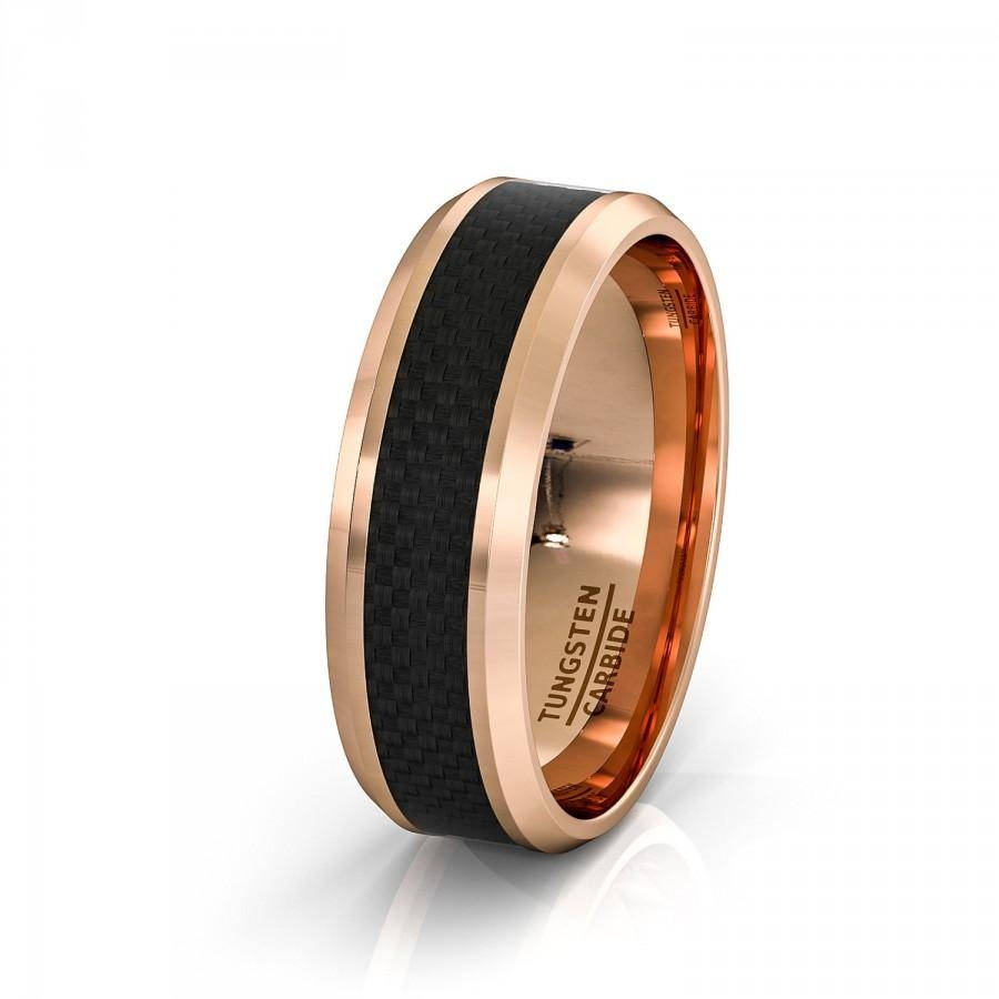 Mens Wedding Band 8Mm Rose Gold Tungsten Ring Polished Black With Regard To 2018 Beveled Edge Mens Wedding Bands (View 8 of 15)