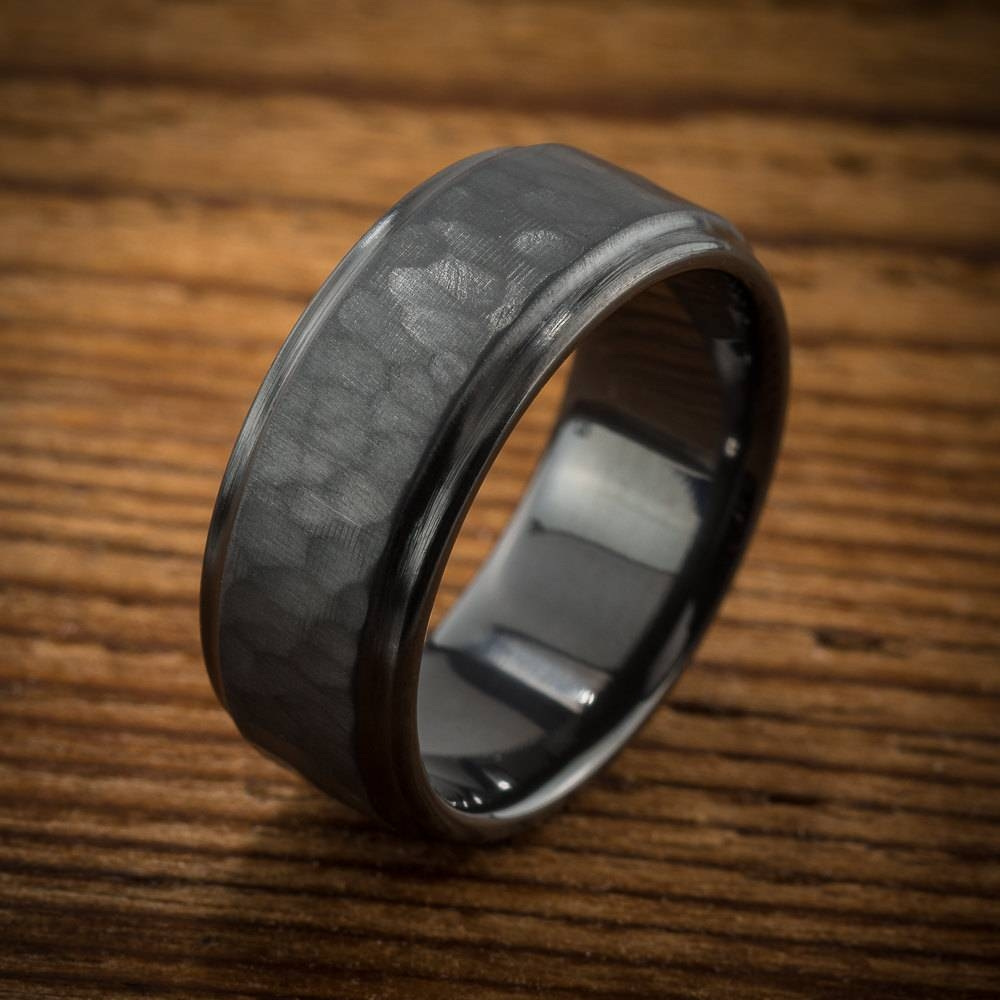 Men's Wedding Band Comfort Fit Interior Hammered Black Throughout Black Zirconium Wedding Bands (View 11 of 15)