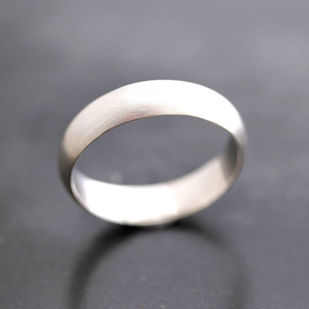 Men's Wedding Band Matte 5Mm Half Round Brushed Unisex Inside Mens Sterling Wedding Bands (Gallery 11 of 15)