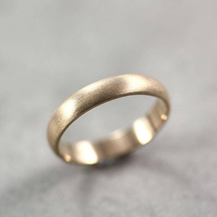 Mens Wedding Band, Matte Brushed Gold Men's Or Women's Unisex 4Mm Pertaining To 4Mm Mens Wedding Bands (View 11 of 15)