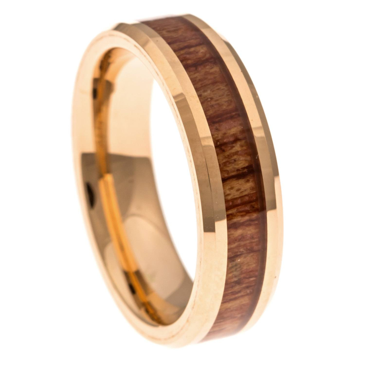 Men's Wedding Band Rose Gold Hawaiian Koa Wood Inlay 6Mm. In Wood Inlay Wedding Rings (Gallery 12 of 15)