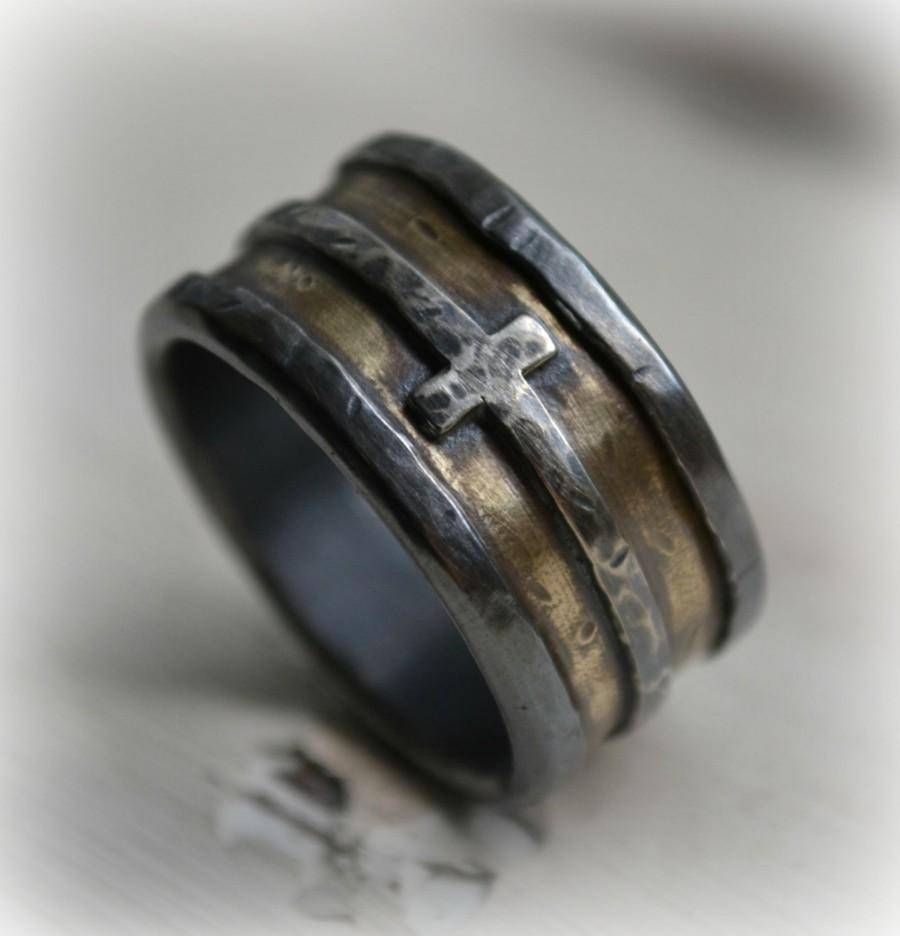 Mens Wedding Band – Rustic Fine Silver Brass And Sterling Silver With Regard To Mens Wedding Bands With Cross (View 10 of 15)