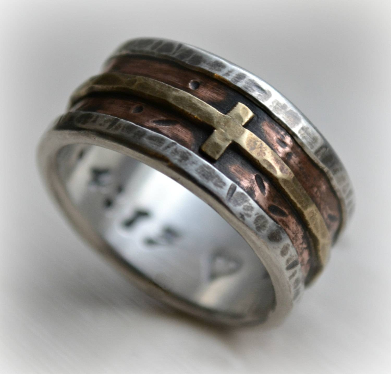 Mens Wedding Band Rustic Fine Silver Copper And Brass Cross Pertaining To Cross Wedding Rings (Gallery 9 of 15)