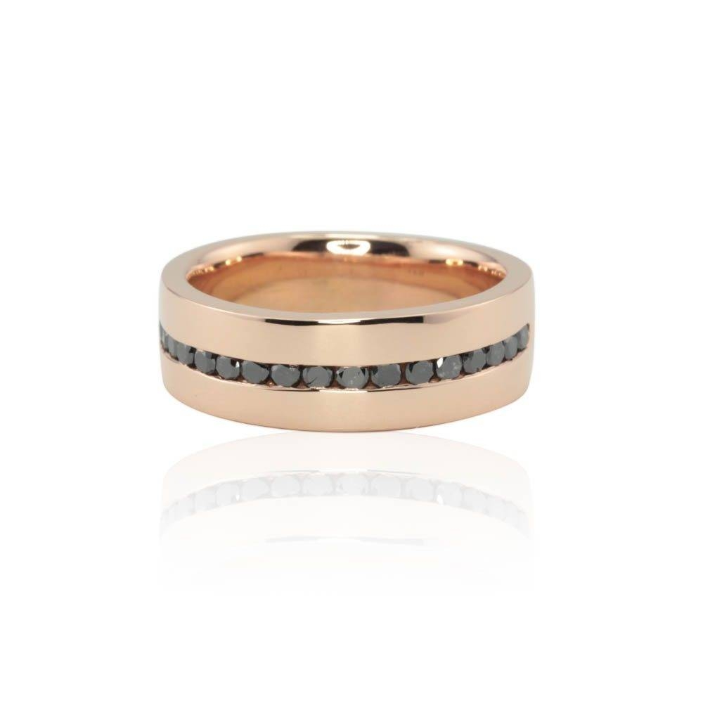Men's Wedding Band With Channel Set Black Diamonds In Rose Gold Throughout Rose Gold Diamond Wedding Bands (Gallery 15 of 15)