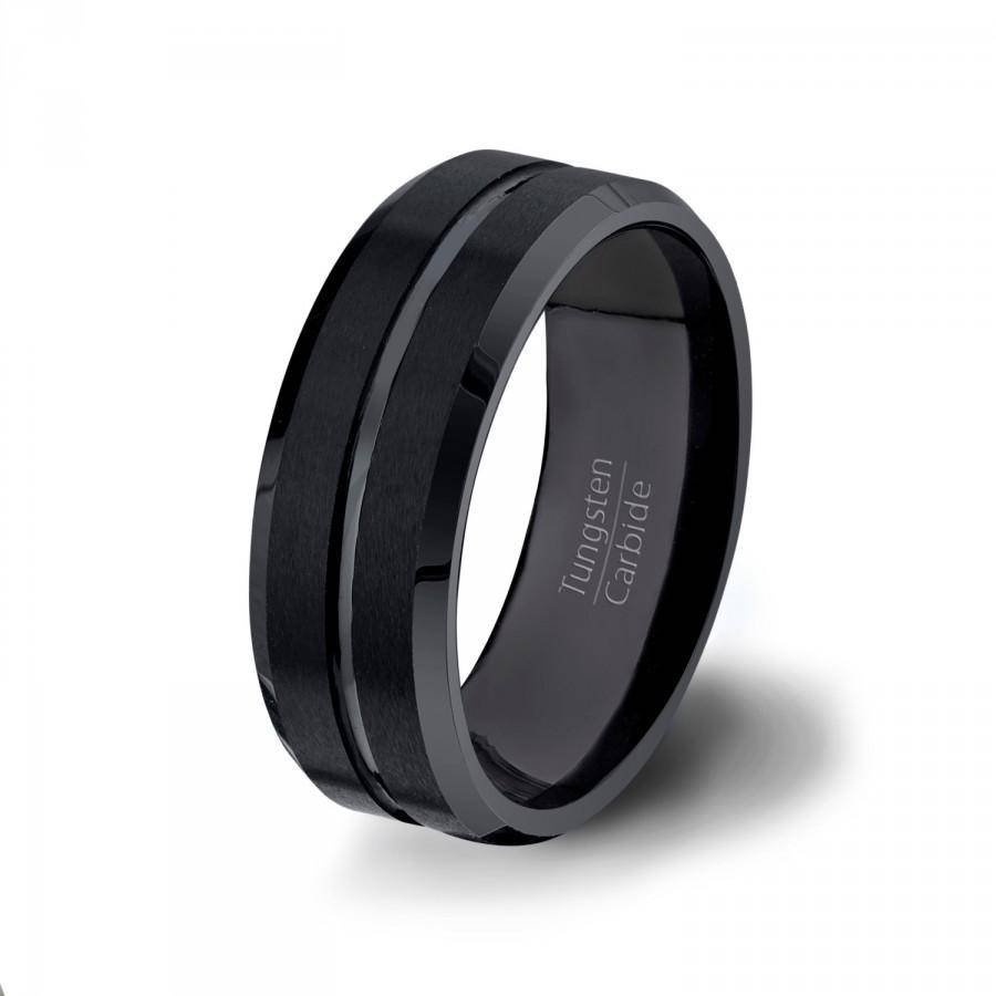 Mens Wedding Bands Black Tungsten Ring 8Mm Brushed With Center With Regard To Black Tungsten Wedding Bands (View 12 of 15)