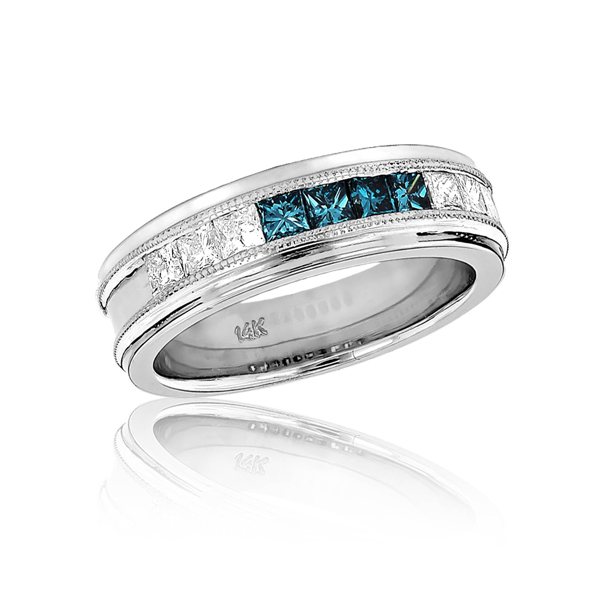 Mens White Blue Diamond Wedding Band  (View 12 of 15)