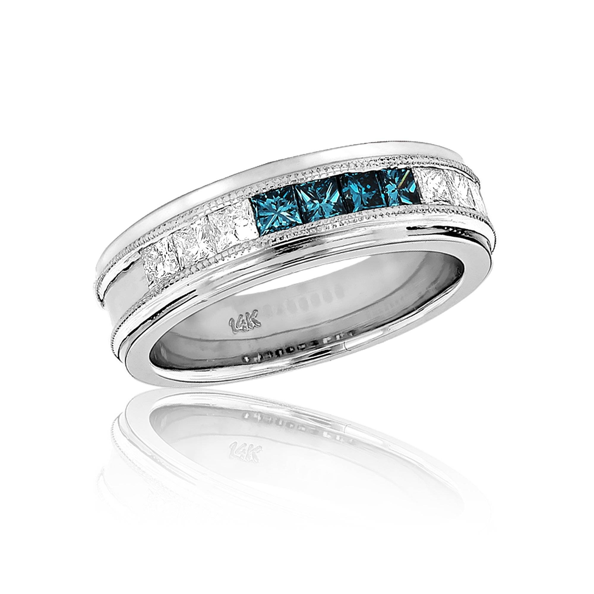 Mens White Blue Diamond Wedding Band (View 7 of 15)
