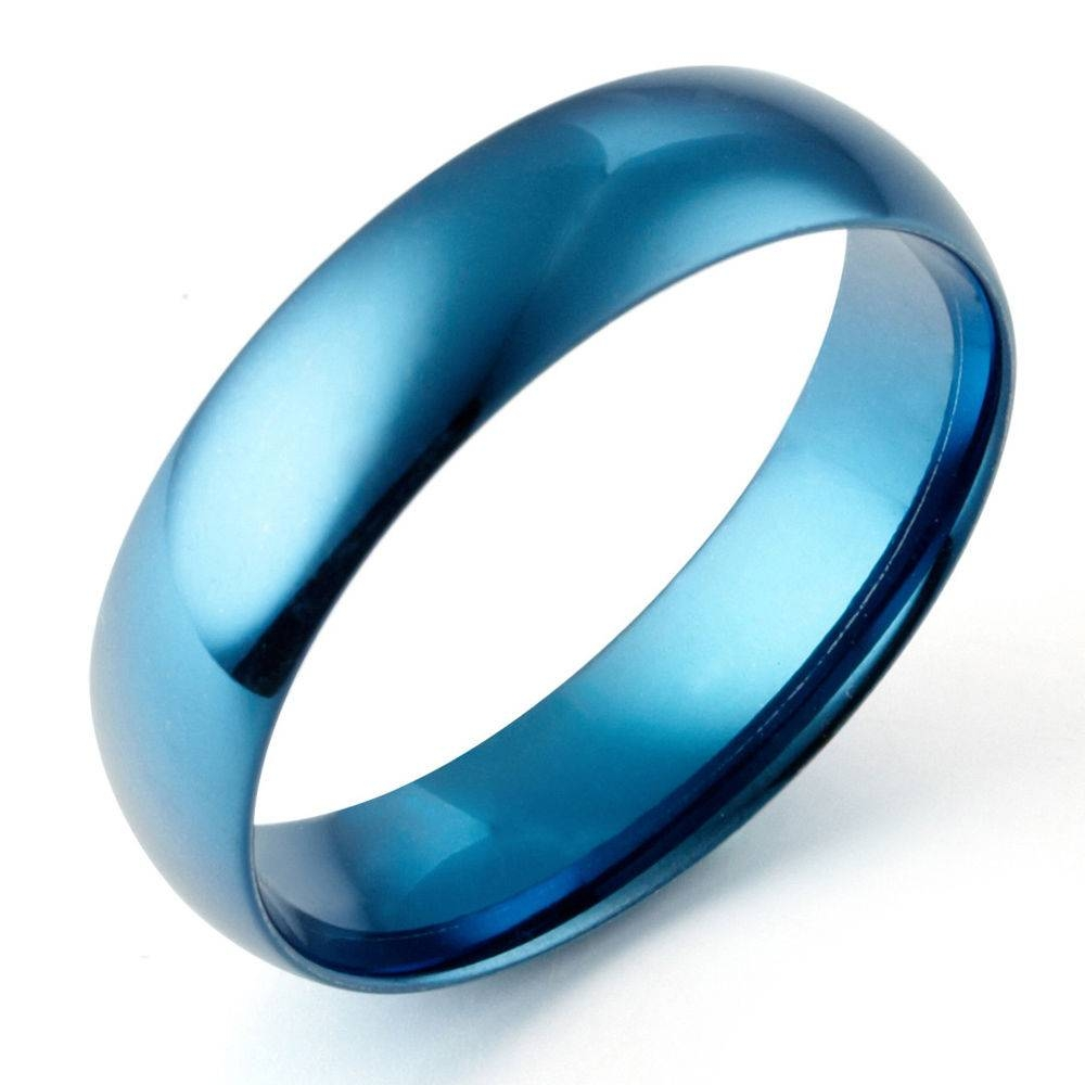 Mens Womens Blue Dome Comfort Fit Wedding Anniversary Titanium Pertaining To Blue Wedding Bands For Men (Gallery 4 of 15)