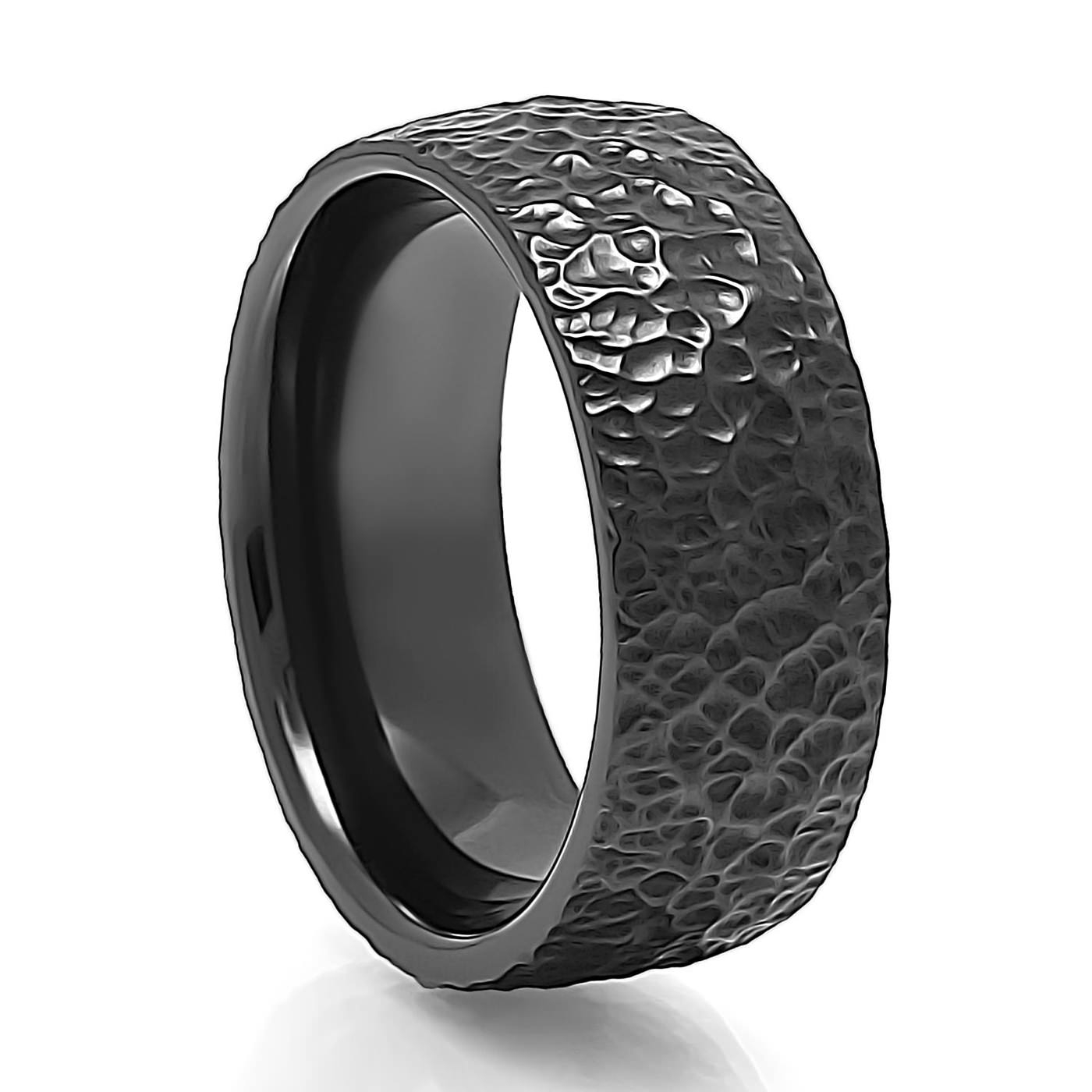 Men's Zaboda Textured Black Zirconium Ringj.r (View 12 of 15)