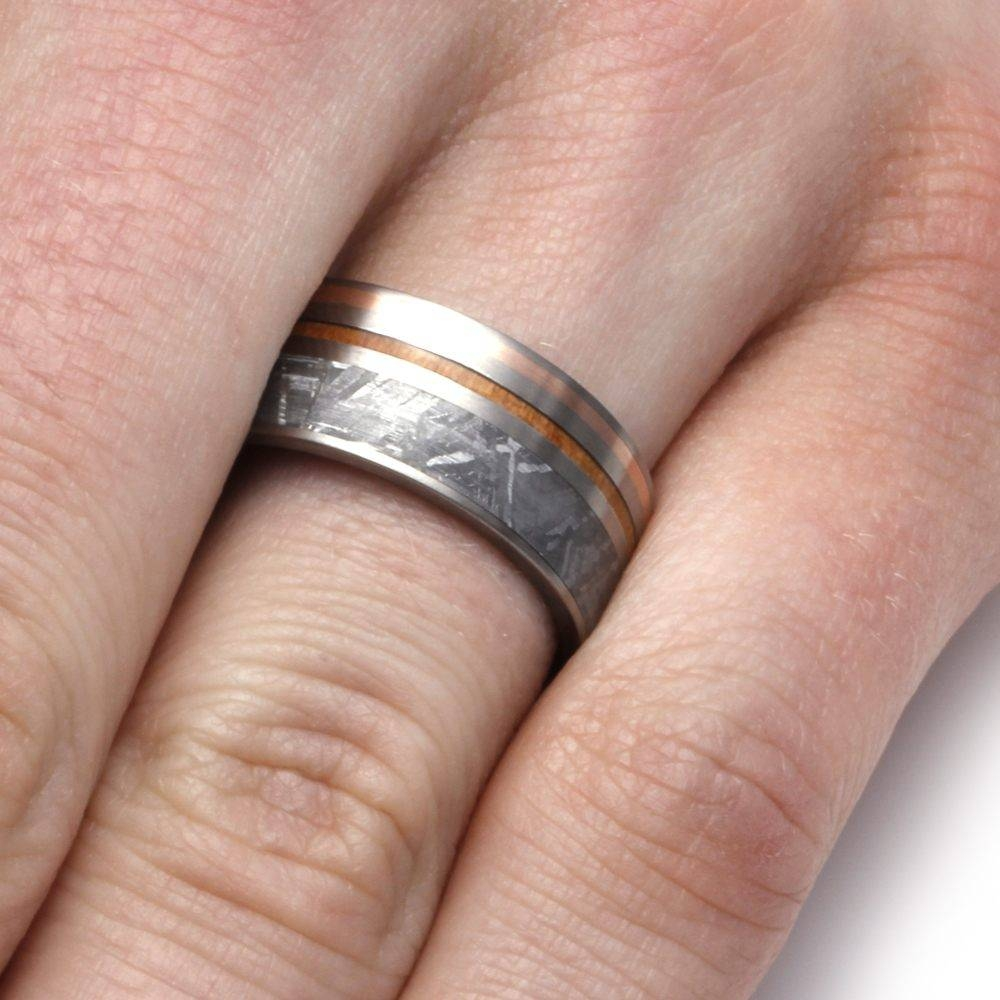 Meteorite Wedding Band, Rose Gold And Kauri Wood Inlays Regarding Wood Inlay Wedding Rings (View 15 of 15)