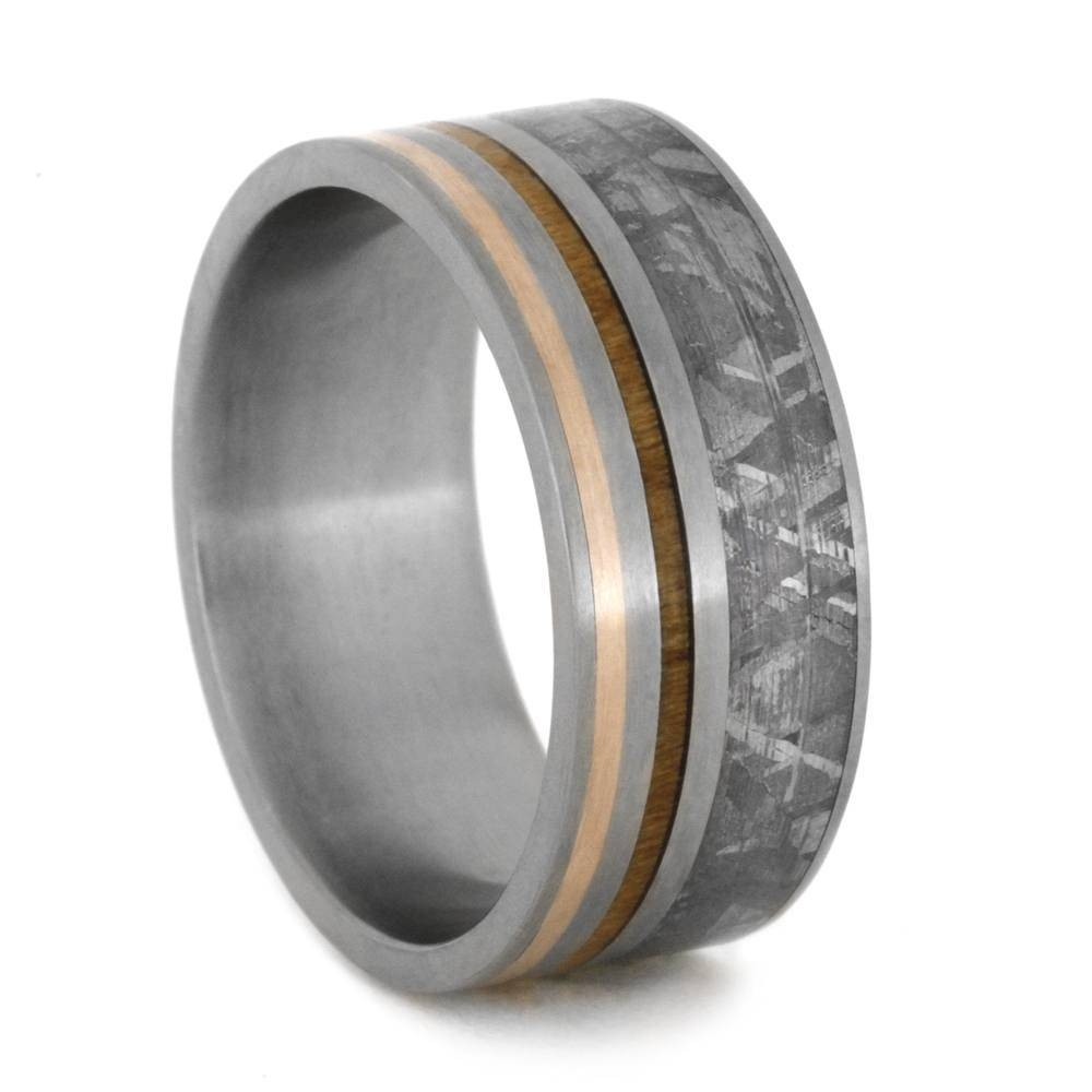 Meteorite Wedding Band, Rose Gold And Kauri Wood Inlays Within Wood Inlay Wedding Bands (View 9 of 15)