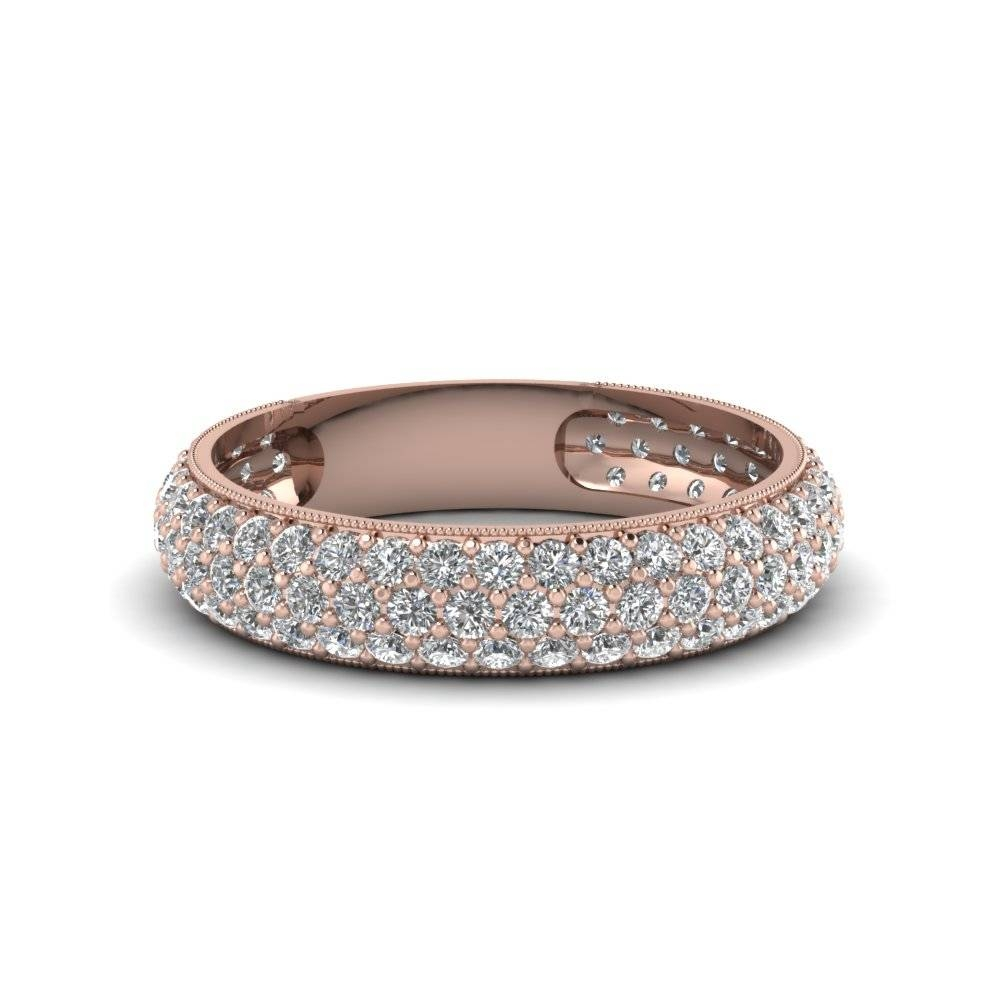 Micropave Diamond Wedding Band For Women In 14K Rose Gold Throughout Micro Pave Wedding Bands (View 7 of 15)