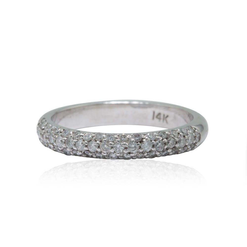 Micropave Diamond Wedding Band In 14K White Gold 25% Off Sale Inside Micro Pave Wedding Bands (View 8 of 15)