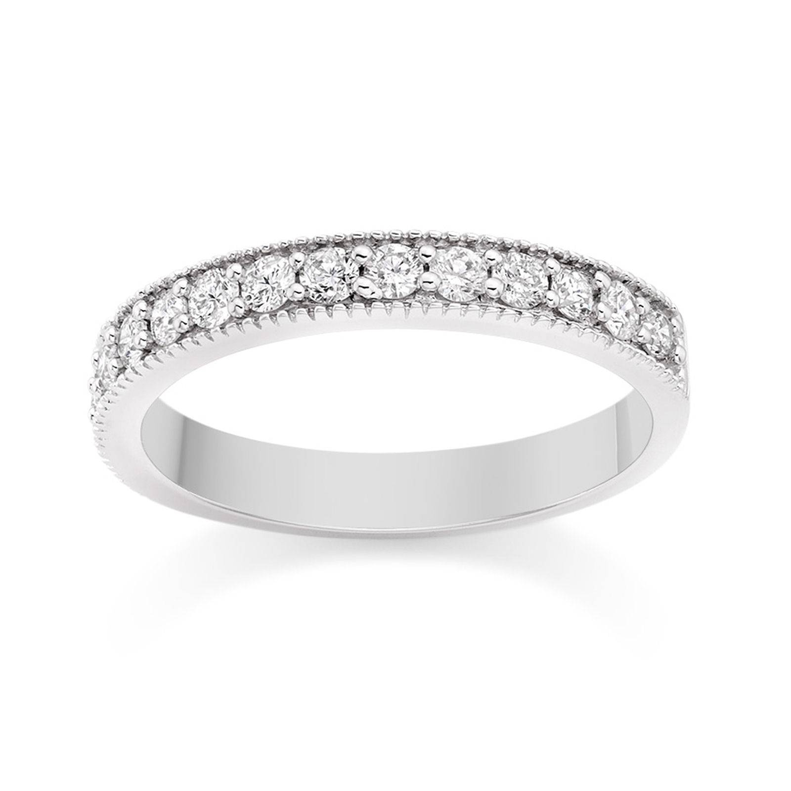 Milgrain Diamond Wedding Ring In Platinum Wedding Dress From Pertaining To Latest Platinum And Diamond Wedding Bands (View 8 of 15)
