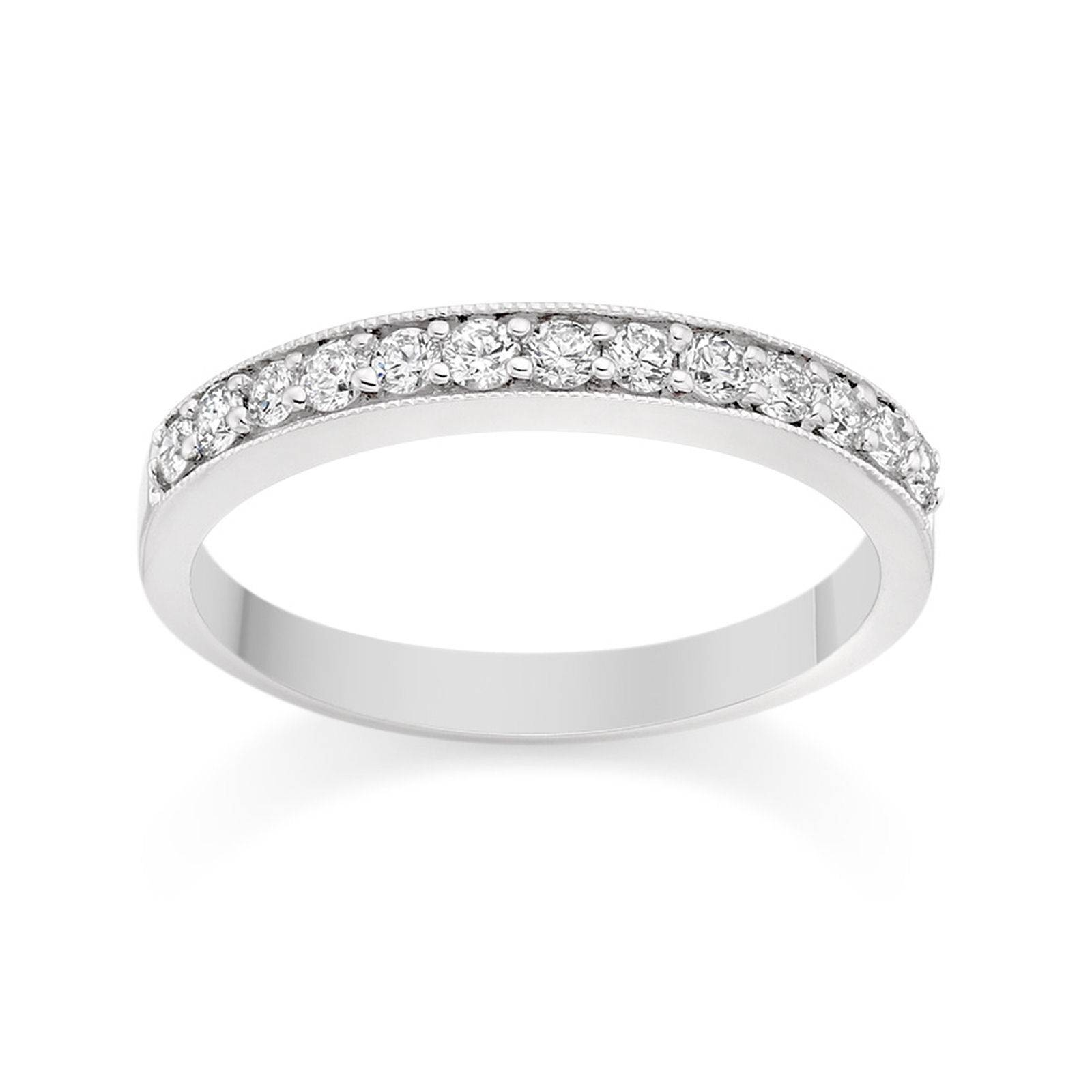 Milgrain Pave Set Diamond Wedding Ring In 18K White Gold Wedding Regarding Most Popular Pave Set Diamond Wedding Bands (View 7 of 15)