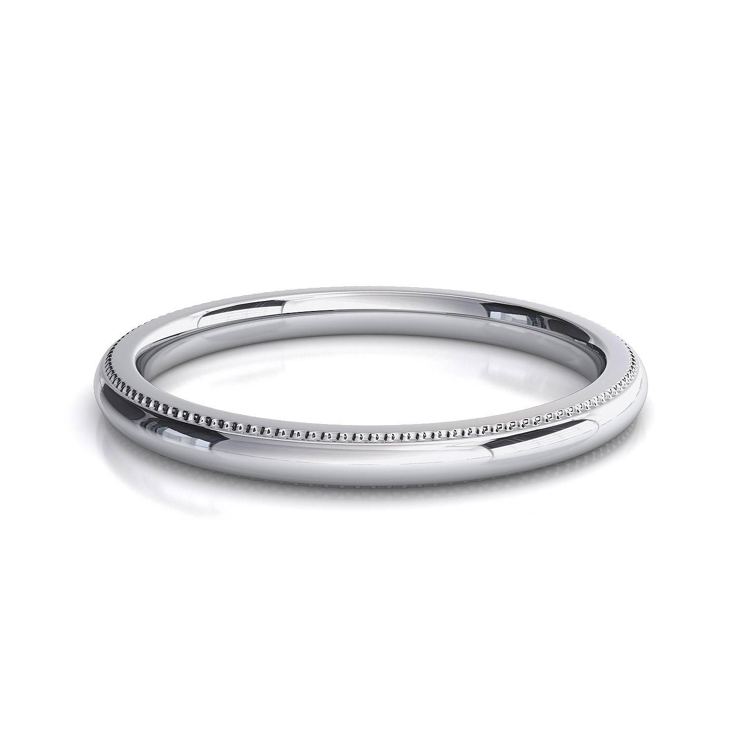 Millgrain Edge Wedding Band Toronto Custom Jewellery Regarding White Gold Plain Wedding Bands (Gallery 8 of 15)
