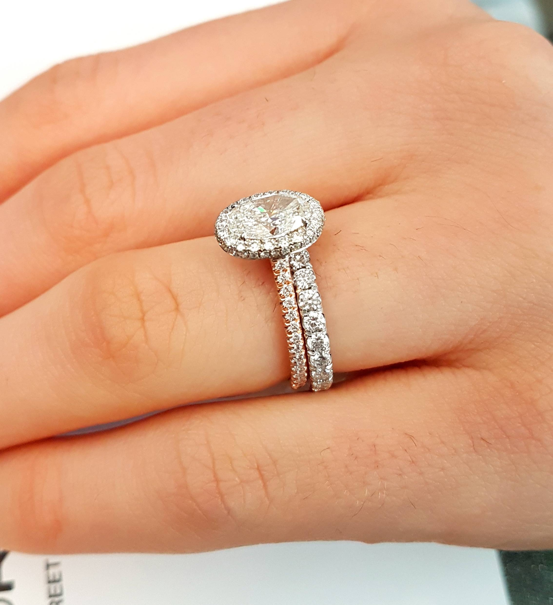 diamond jewellery halo engagement tw with matching gold band wedding ring rings in marquise white