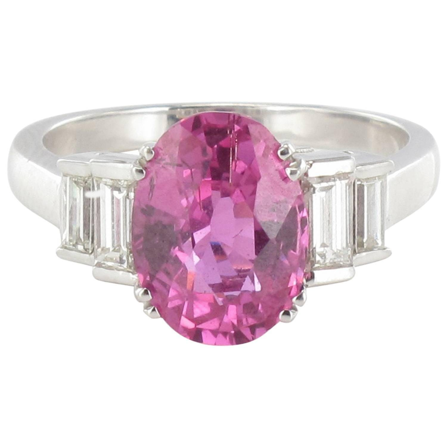 Modern 3.55 Carat Pink Sapphire And Baguette Cut Diamond Ring For Regarding Pink Sapphire And Diamond Engagement Rings (Gallery 12 of 15)