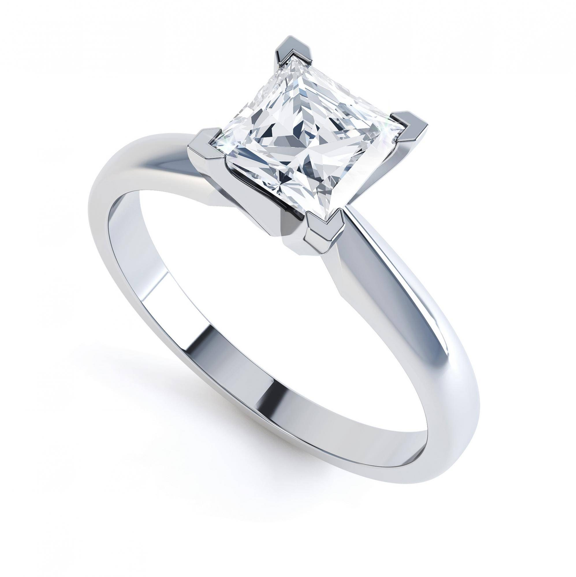 Modern 4 Claw Princess Solitaire Engagement Ring Regarding Princess Shaped Engagement Rings (View 7 of 15)