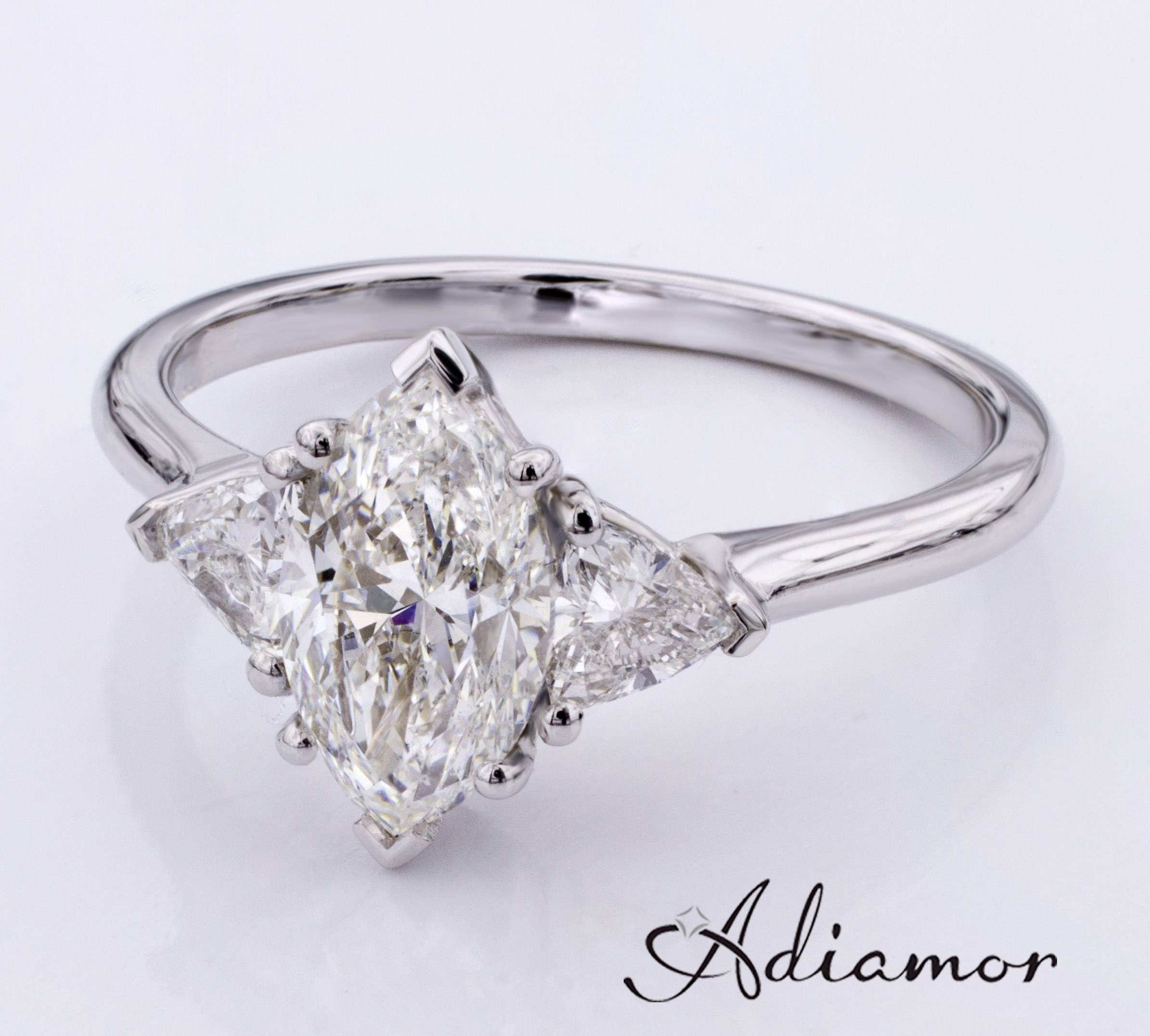Modern Versions Of The Three Stone Ring | Adiamor Pertaining To Three Stone Engagement Rings With Side Stones (Gallery 8 of 15)