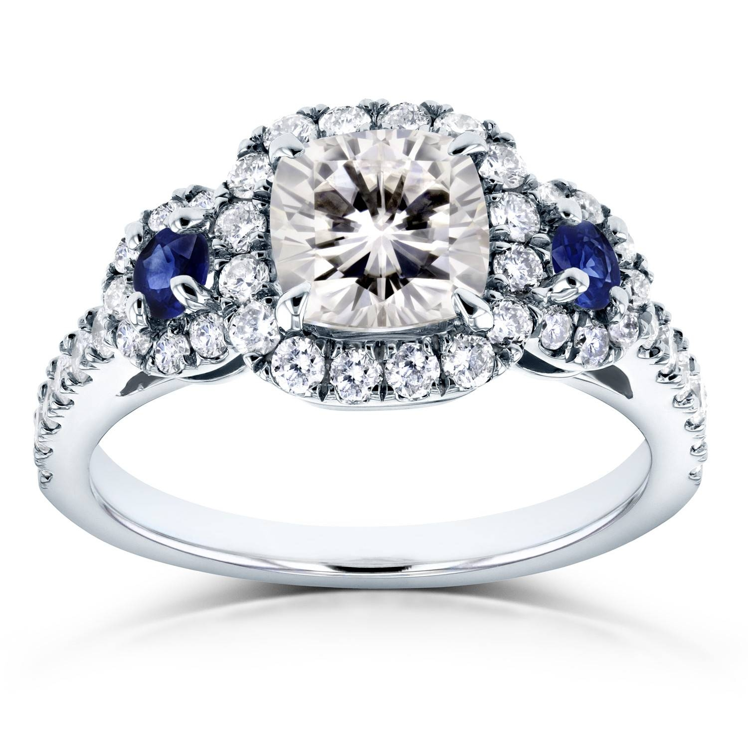 Moissanite (hi) Sapphire And Diamond Engagement Ring 1 7/8 Ctw 14k Regarding 7 Diamond Engagement Rings (View 10 of 15)