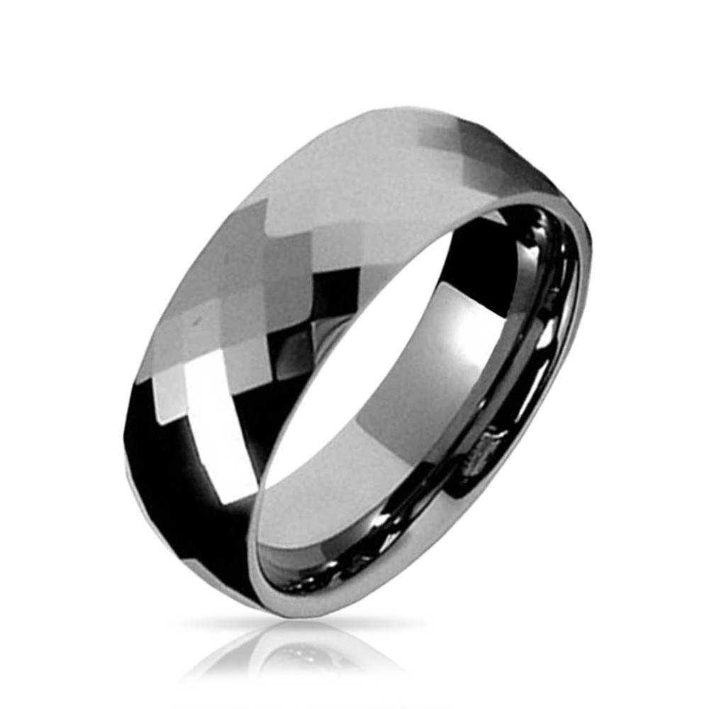 Multi Faceted Tungsten Wedding Band Ring 8Mm Within Tungsten Wedding Bands (Gallery 257 of 339)
