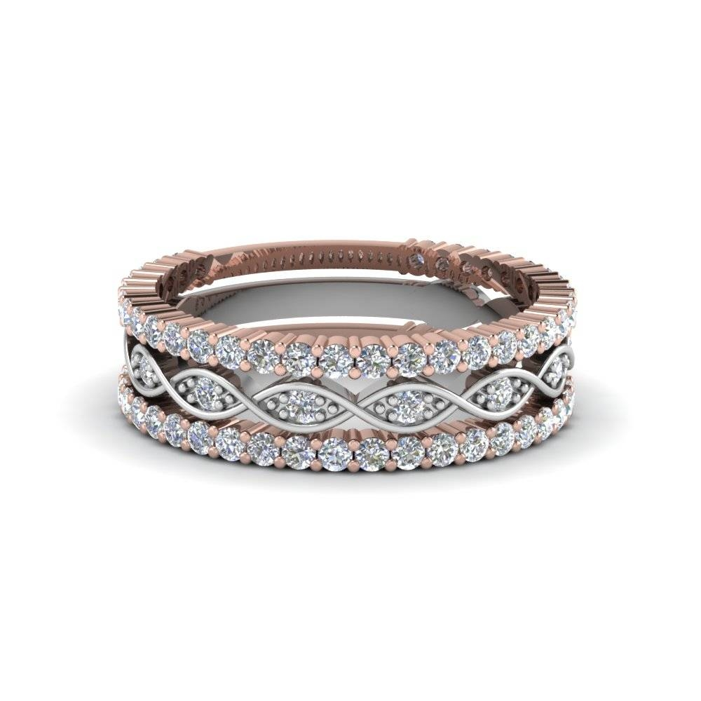 Multi Stack 2 Tone Diamond Wedding Band In 14K Rose Gold Pertaining To Rose Gold Diamond Wedding Bands (View 11 of 15)