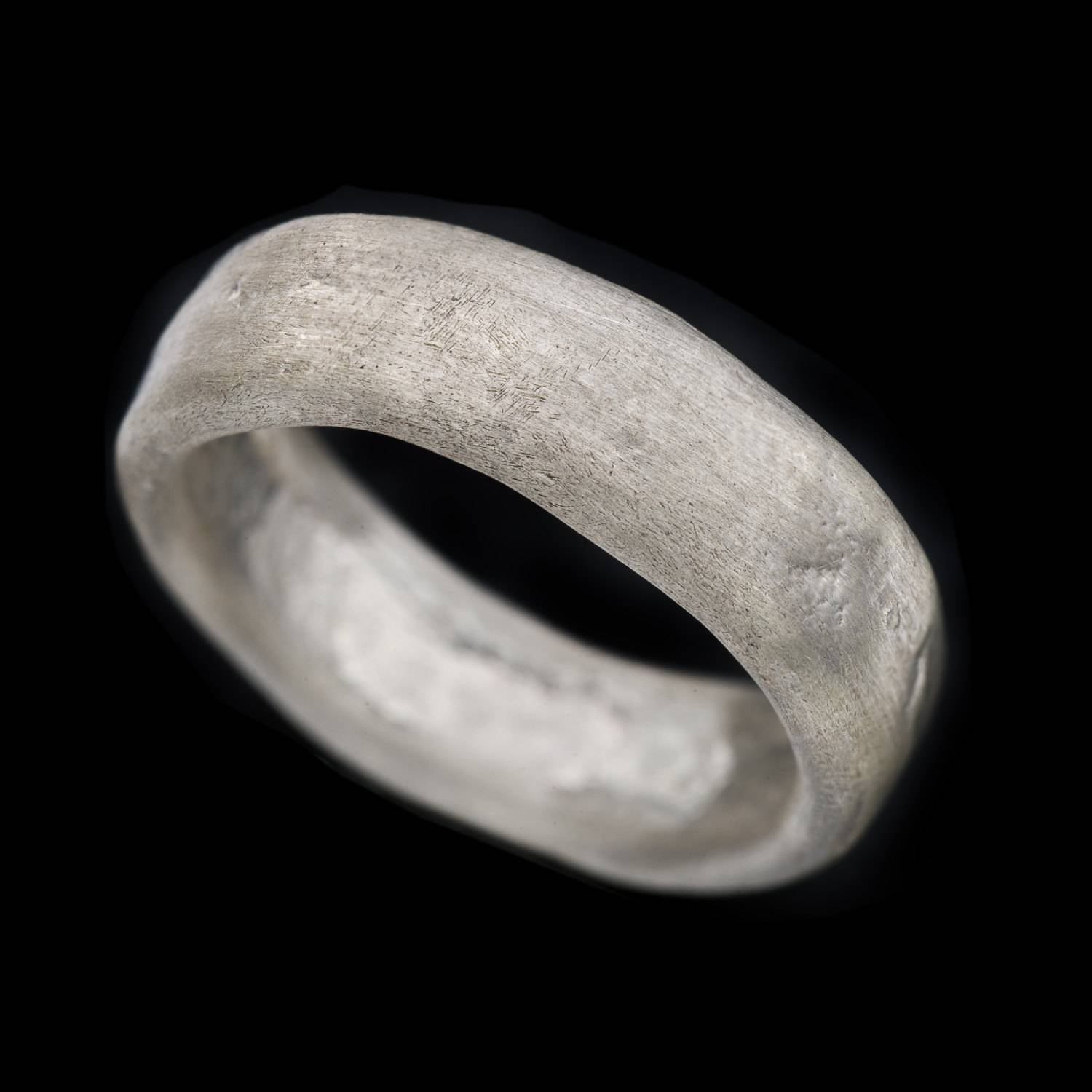 Natural Rough Looking Wide Fusing Sterling Silver Men Ring In Sterling Silver Wedding Bands For Him (Gallery 7 of 15)