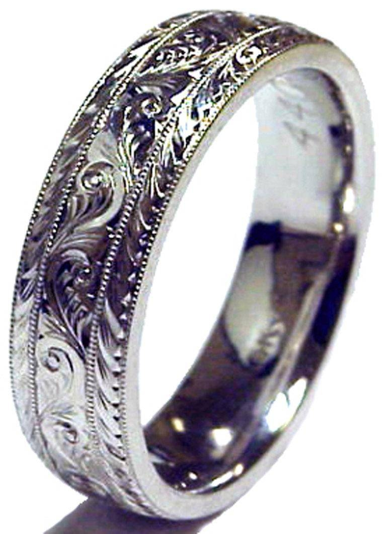 New Hand Engraved Man's 14k White Gold 8mm Wide Wedding Band Ring With 8mm White Gold Wedding Bands (Gallery 12 of 15)