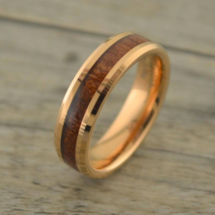 New! Rose Gold With Hawaiian Koa Wood Inlay Men's Wedding Band Throughout Wood Inlay Wedding Bands (Gallery 3 of 15)