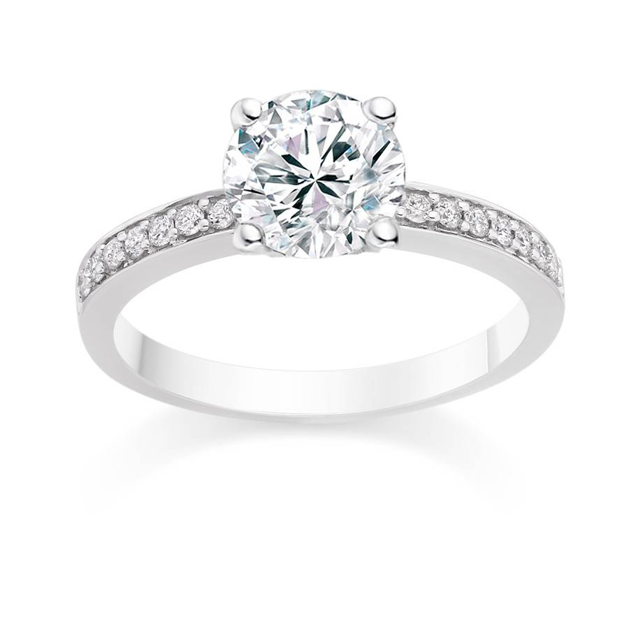New Side Stone Diamond Rings Round Cut  (View 4 of 15)