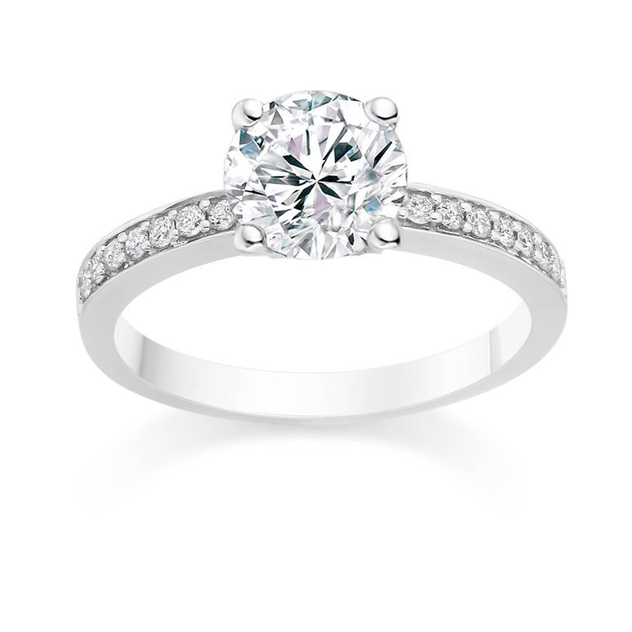 New Side Stone Diamond Rings Round Cut 0.75 Carat Side Stones With Side Stone Engagement Rings (Gallery 4 of 15)