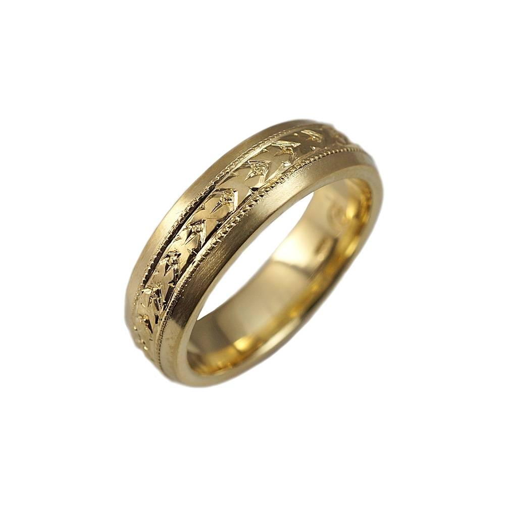 Nils Hand Engraved Green Gold Men's Wedding Band Within Mens Wedding Bands With Engraving (View 7 of 15)