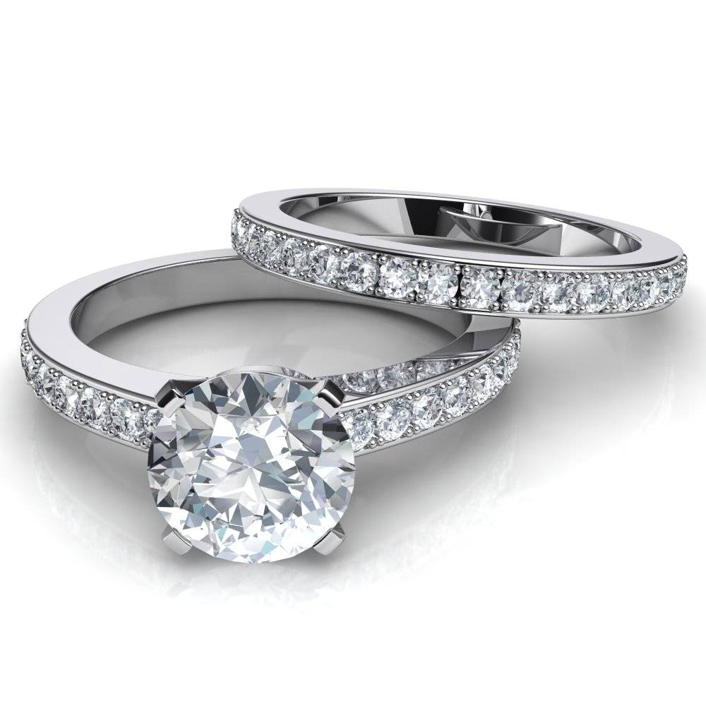 Novo Engagement Ring & Matching Wedding Band Bridal Set Pertaining To Wedding And Engagement Bands (View 11 of 15)