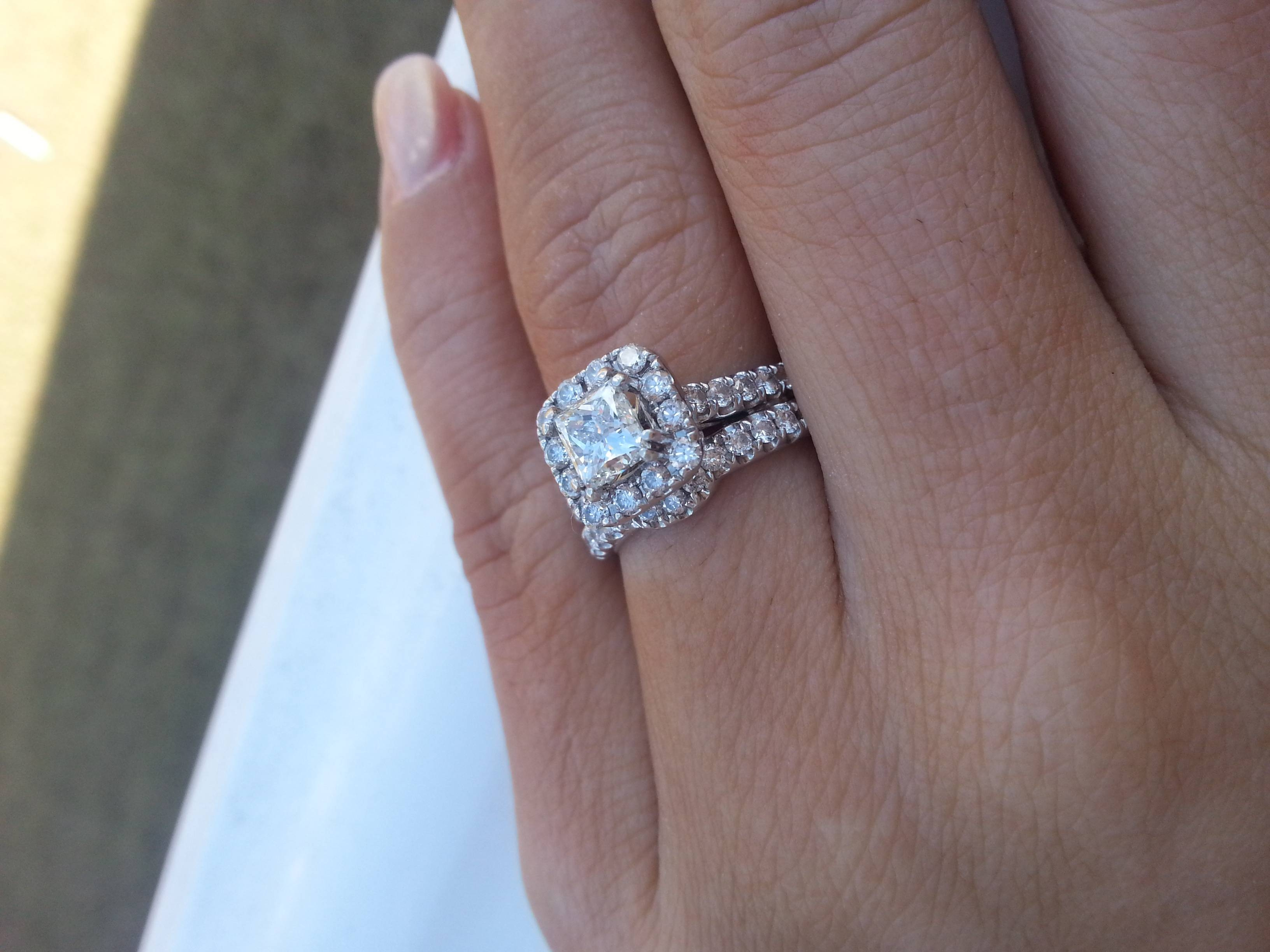 Okay To Mix Princess Cut E Ring With A Round Cut Diamond Wedding In Wedding Bands To Go With Princess Cut Engagement Rings (Gallery 3 of 15)