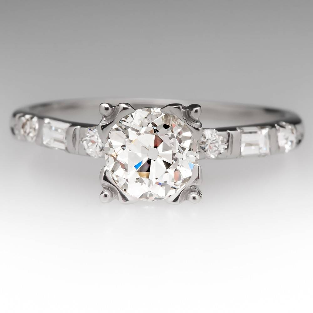 Old European Cut Diamond Fishtail Platinum Ring, Seattle Pertaining To Seattle Engagement Rings (View 7 of 15)