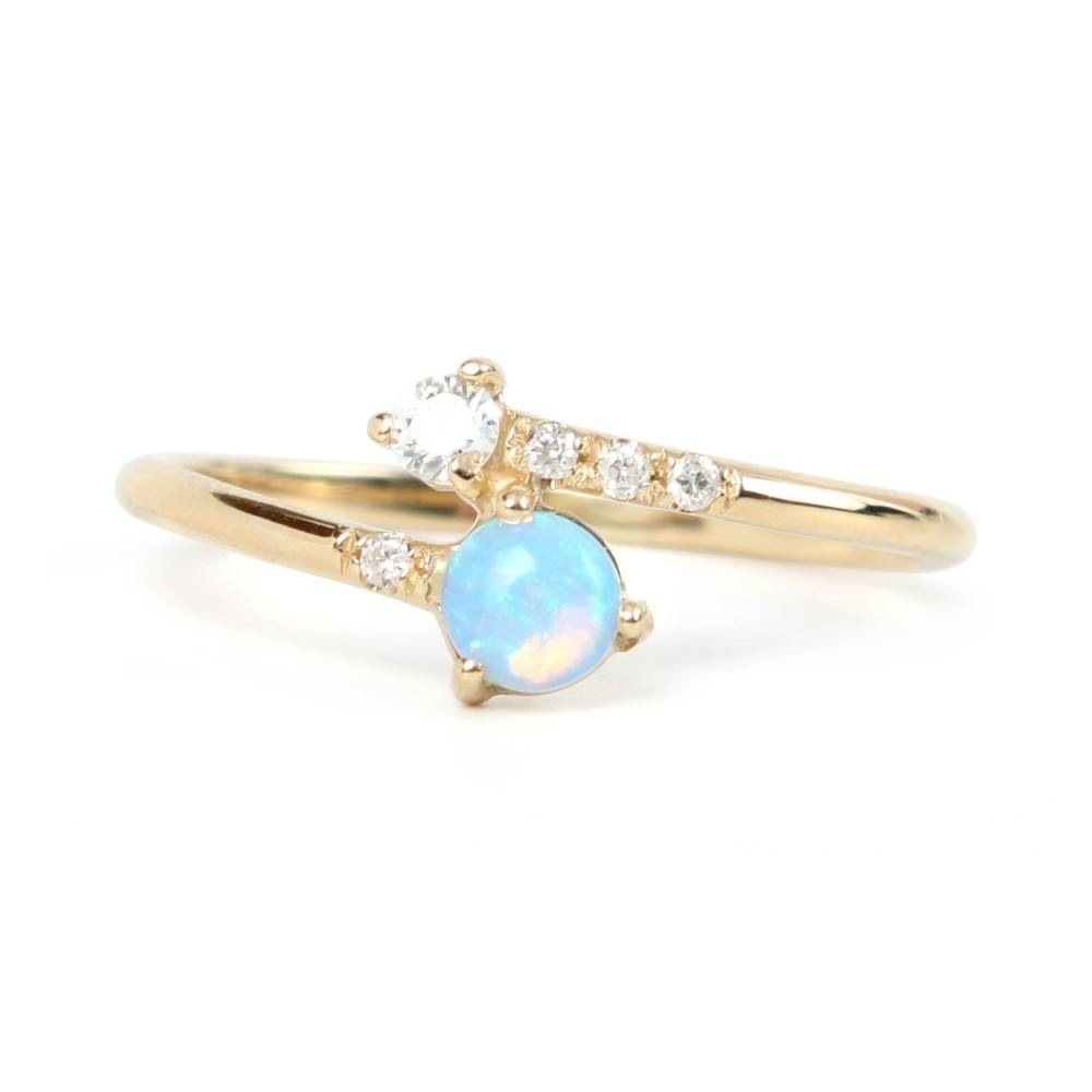 Opal & Diamond Crossover Ring – Catbird With Regard To Crossover Engagement Rings (View 11 of 15)