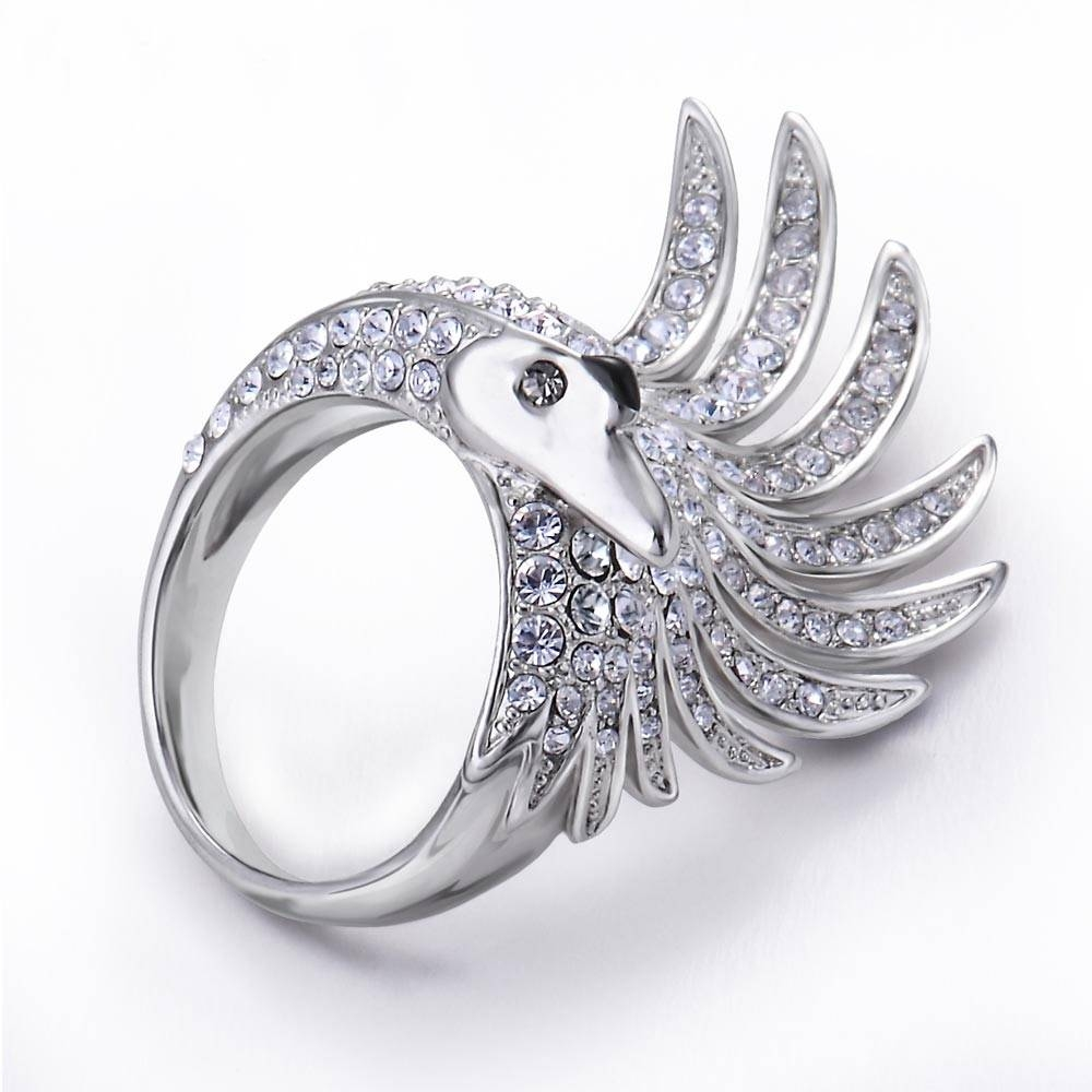 Open Wing Swan Swarovski Elements Crystals Cocktail Ring For With Regard To Swarovski Wedding Bands (View 7 of 15)