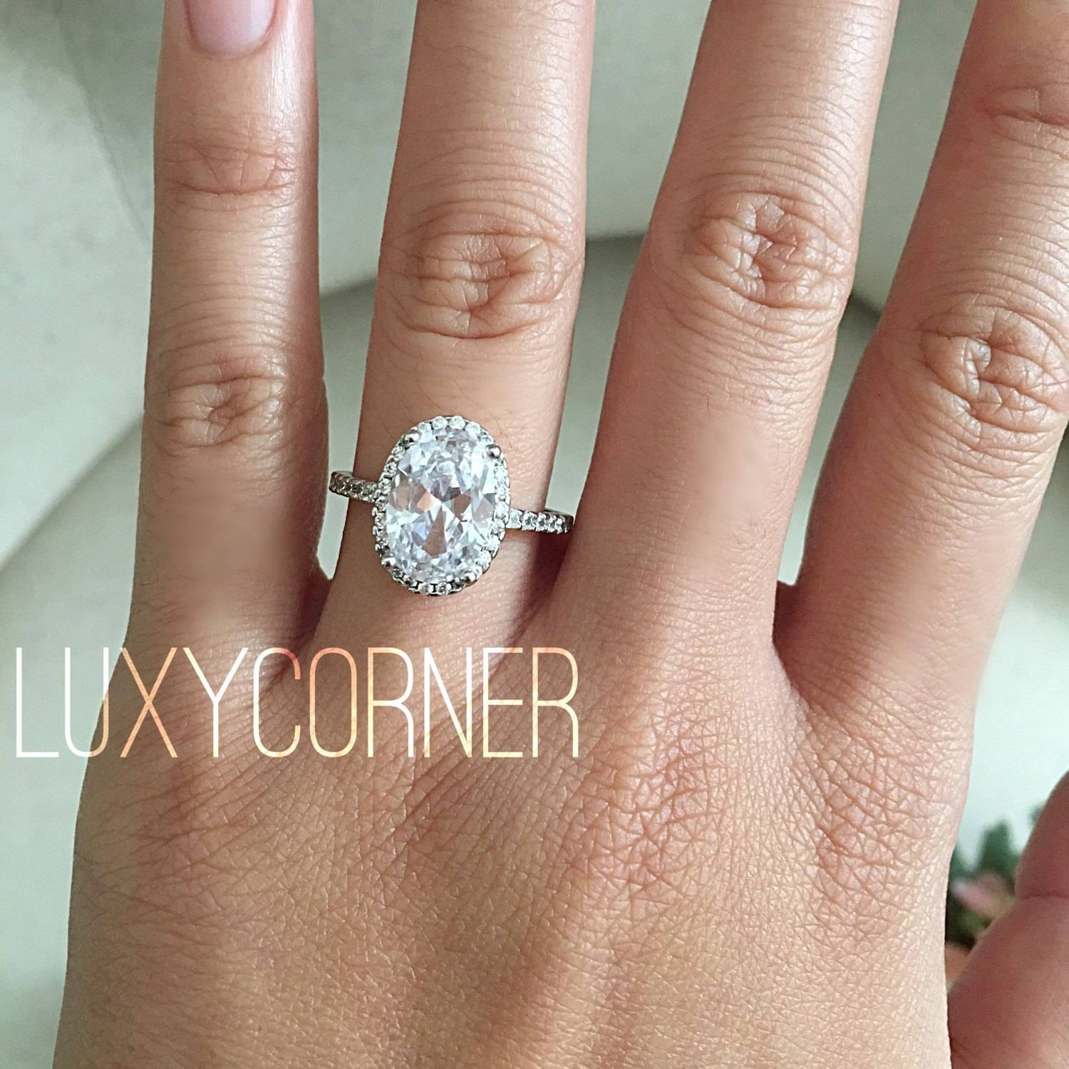 Oval Halo Engagement Ring Oval Engagement Ring Wedding Ring Regarding Oval Engagement Rings (Gallery 13 of 15)
