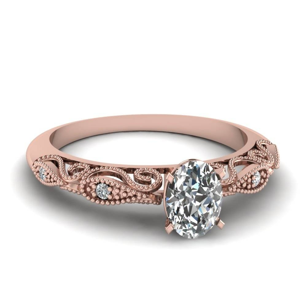 Oval Shaped Paisley Diamond Ring In 14K Rose Gold | Fascinating Throughout 14K Gold Diamond Engagement Rings (View 9 of 15)