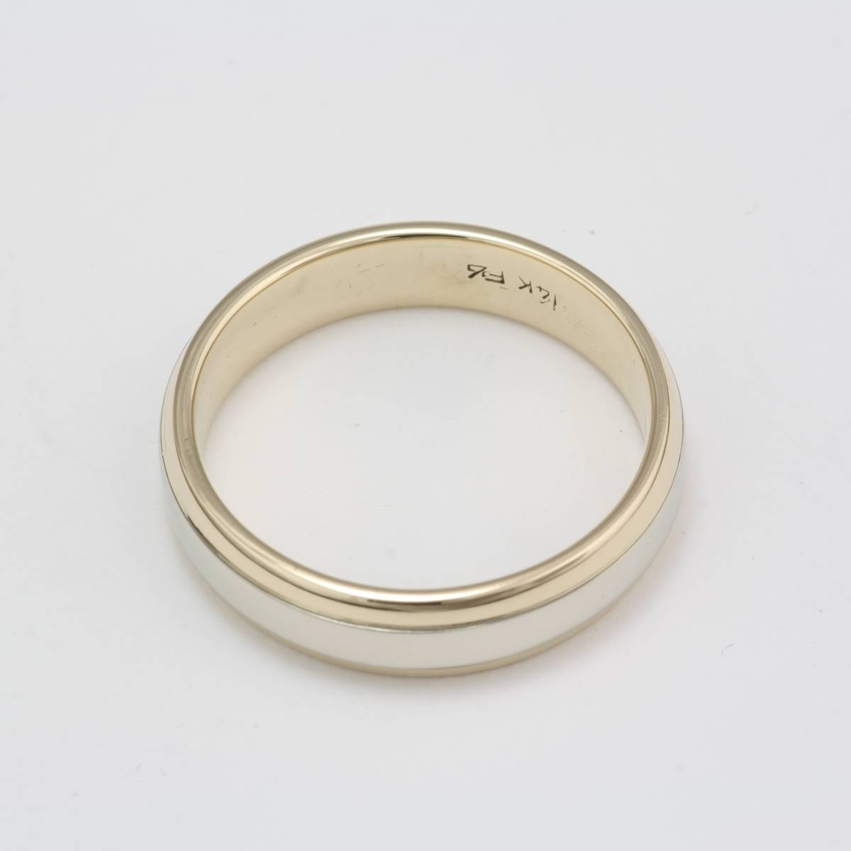 Owned 14 Karat White And Yellow Gold Wedding Band With Regard To 14 Carat Gold Wedding Bands (View 8 of 15)