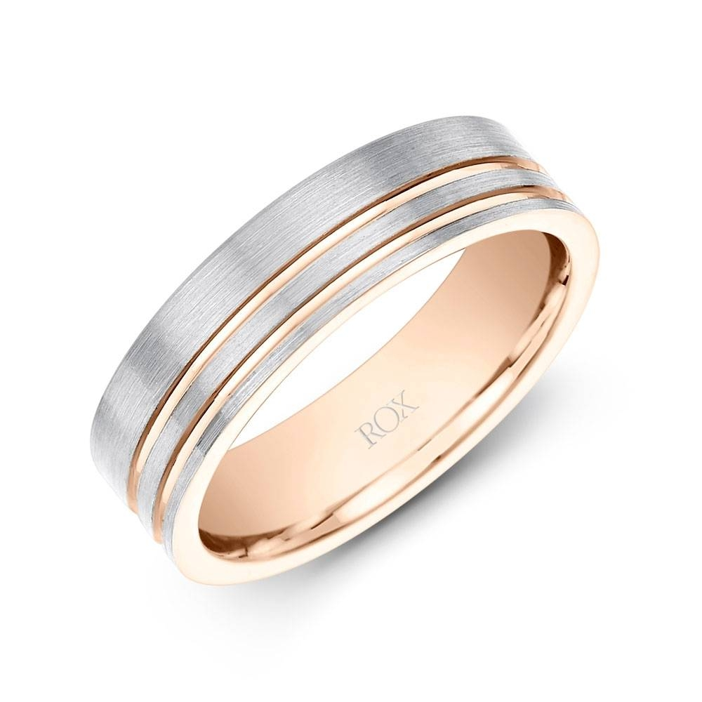 Palladium And Rose Gold Gents Wedding Ring 6Mm | Rox In Most Current Palladium Wedding Bands For Women (View 4 of 15)